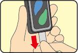 (1)アルミシールのつまみを矢印の方向にゆっくり引き抜く